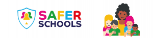 Safer Schools logo and illustrations of for children holding phones with black lady standing behind them